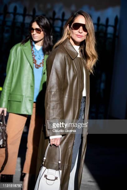 Tiany Kiriloff and Deborah Reyner Sebag are seen outside Tod's on Day 3 Milan Fashion Week Autumn/Winter 2019/20 on February 22 2019 in Milan Italy