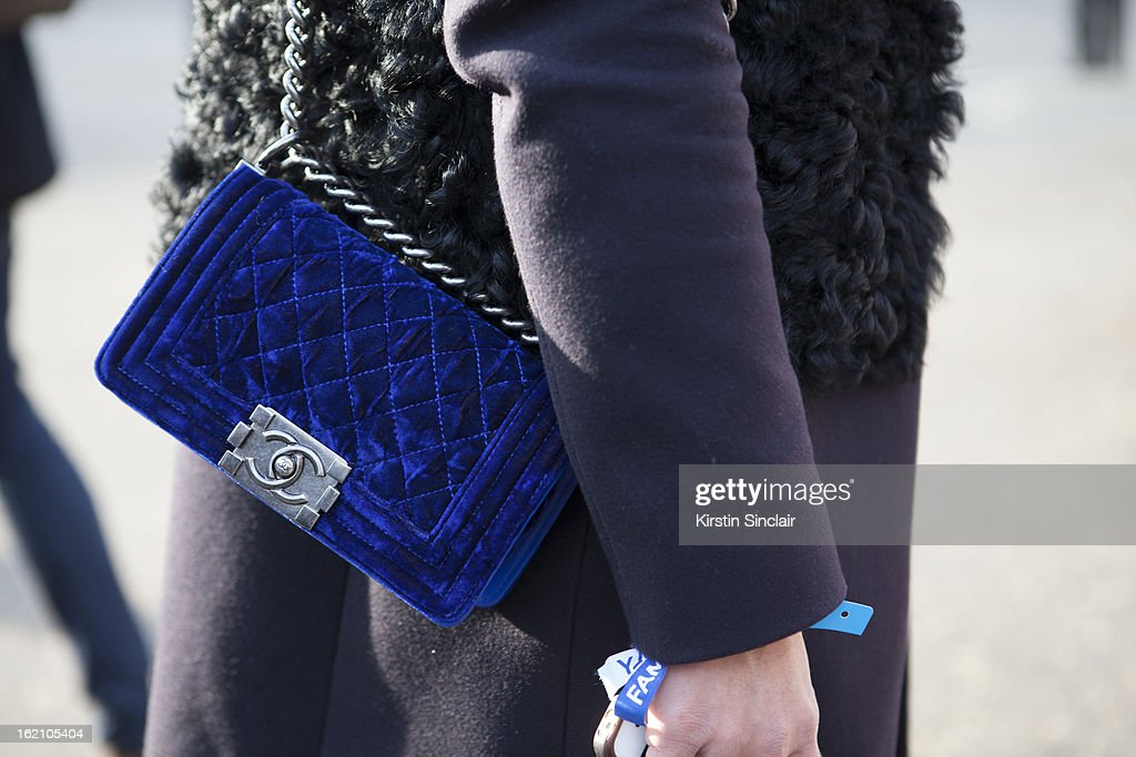 Tiany Kiriloff wearing a Chanel bag on day 4 of London Womens Fashion Week Autumn/Winter 2013 on February 16, 2013 in London, England.