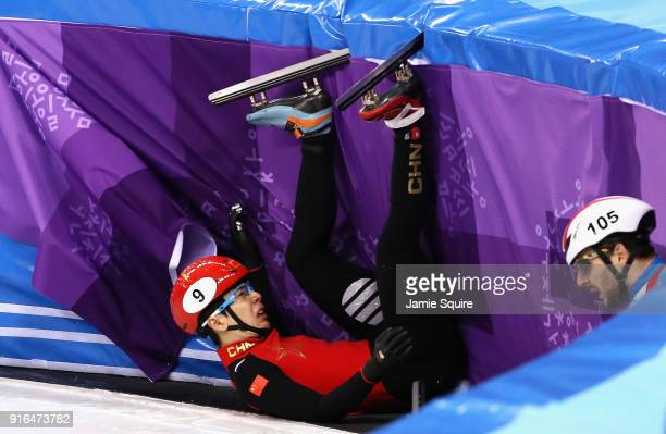 Tianyu Han of China crashes during the Men's 1500m Short Track Speed Skating qualifying on day one of the PyeongChang 2018 Winter Olympic Games at...