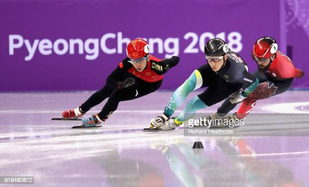 Tianyu Han of China leads during the Men's 1500m Short Track Speed Skating qualifying on day one of the PyeongChang 2018 Winter Olympic Games at...