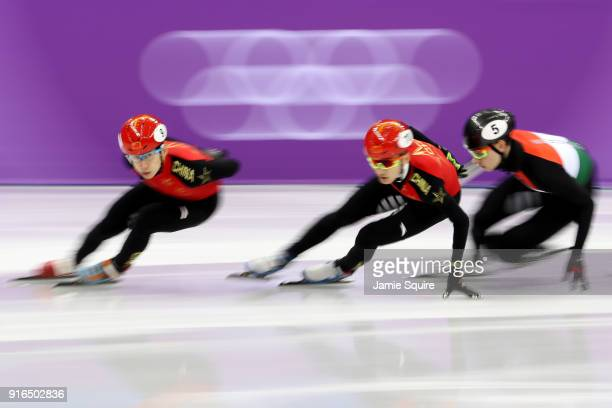Tianyu Han of China leads during the Men's 1500m Short Track Speed Skating semifinals on day one of the PyeongChang 2018 Winter Olympic Games at...