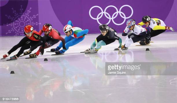 Tianyu Han of China leads out during the Men's 1500m Short Track Speed Skating qualifying on day one of the PyeongChang 2018 Winter Olympic Games at...