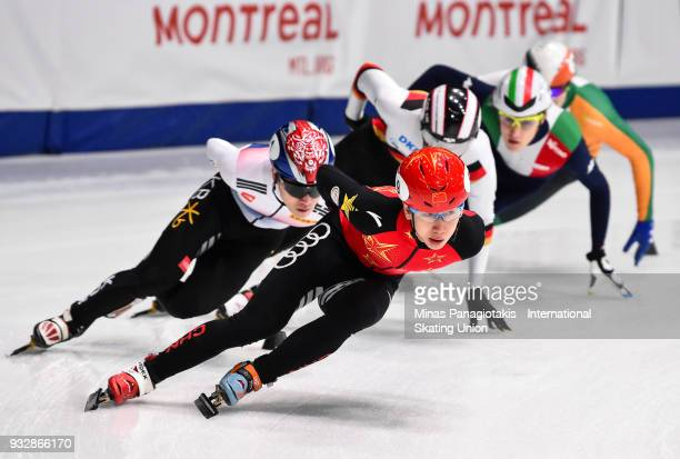 Tianyu Han of China leads the pack in the men's 1500 meter heats during the World Short Track Speed Skating Championships at Maurice Richard Arena on...