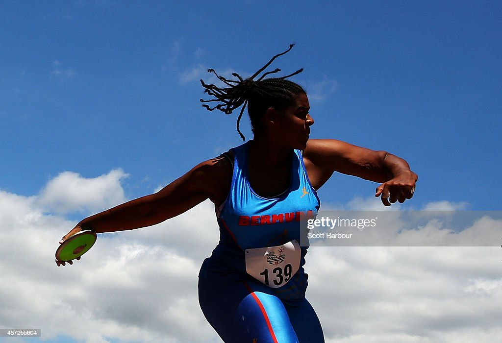 Tiara DeRosa of Bermuda competes in the Girls Discus during the Athletics at the Apia Park Sports Complex on day two of the Samoa 2015 Commonwealth Youth Games on September 8, 2015 in Apia, Samoa.