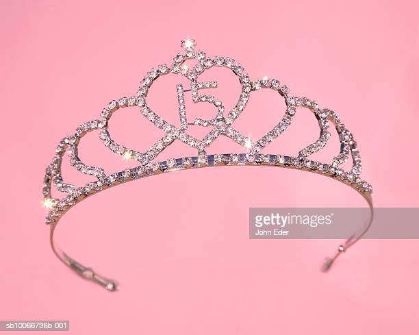 Tiara for girl's fifteenth birthday on pink background