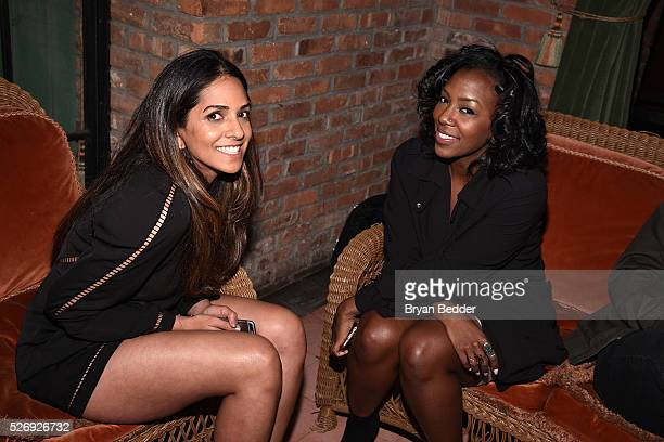 Tiara Hargrave and Nisha Bhagat attend the Gisele Bundchen Spring Fling book launch on April 30 2016 in New York City