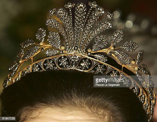 Tiara of Crown Princess Victoria of Sweden is seen during the Nobel Banquet at City Hall on December 10 2004 in Stockholm Sweden The prizes were...