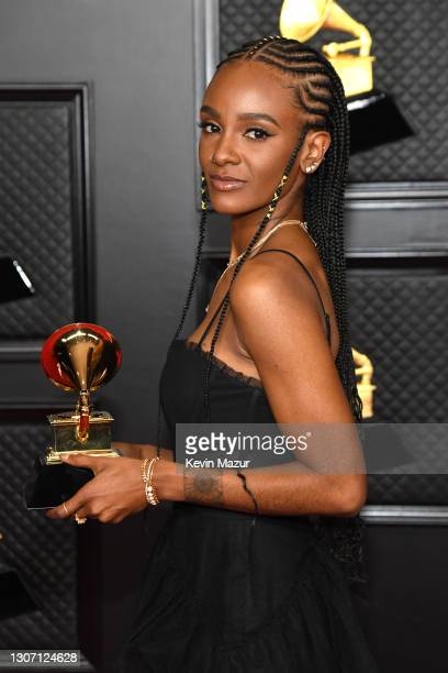 Tiara Thomas, winner of the Song of the Year award for 'I Can't Breathe,' poses in the media room during the 63rd Annual GRAMMY Awards at Los Angeles...