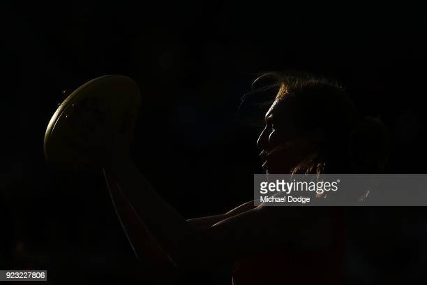 Tiarna Ernst of the Bulldogs marks the ball in the warm up during the round four AFLW match between the Western Bulldogs and the Carlton Blues at...