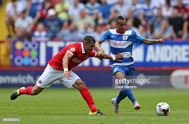 Tiaronn Chery of Queens Park Rangers breaks away from Ahmed Kashi of Charlton Athletic during the Sky Bet Championship match between Charlton...