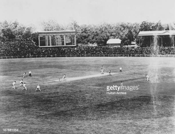 Tibby Cotter of Australia bowling to Wilfred Rhodes of England in the second Ashes Test at Melbourne Cricket Ground, Melbourne, Australia, 30th...