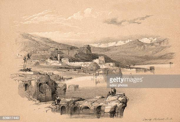 Tiberias from the walls Safed in the distance Ca 1845 Lithography by David Roberts