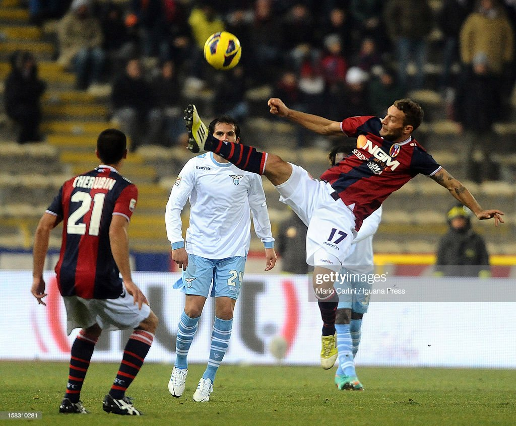 Tiberio Guarente # 17 of Bologna FC in action during the Serie A match between Bologna FC and S.S. Lazio at Stadio Renato Dall'Ara on December 10, 2012 in Bologna, Italy.