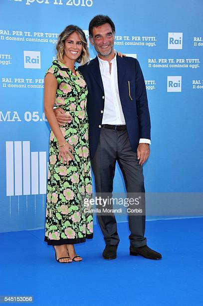 Tiberio Timperi and Ingrid Muccitelli at the Rai Show Schedule on July 5 2016 in Rome Italy
