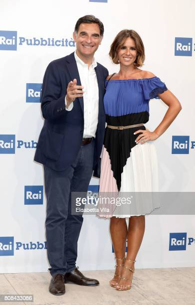 Tiberio Timperi and Ingrid Muccitelli attend the Rai Show Schedule Presentation In Rome on July 4, 2017 in Rome, Italy.