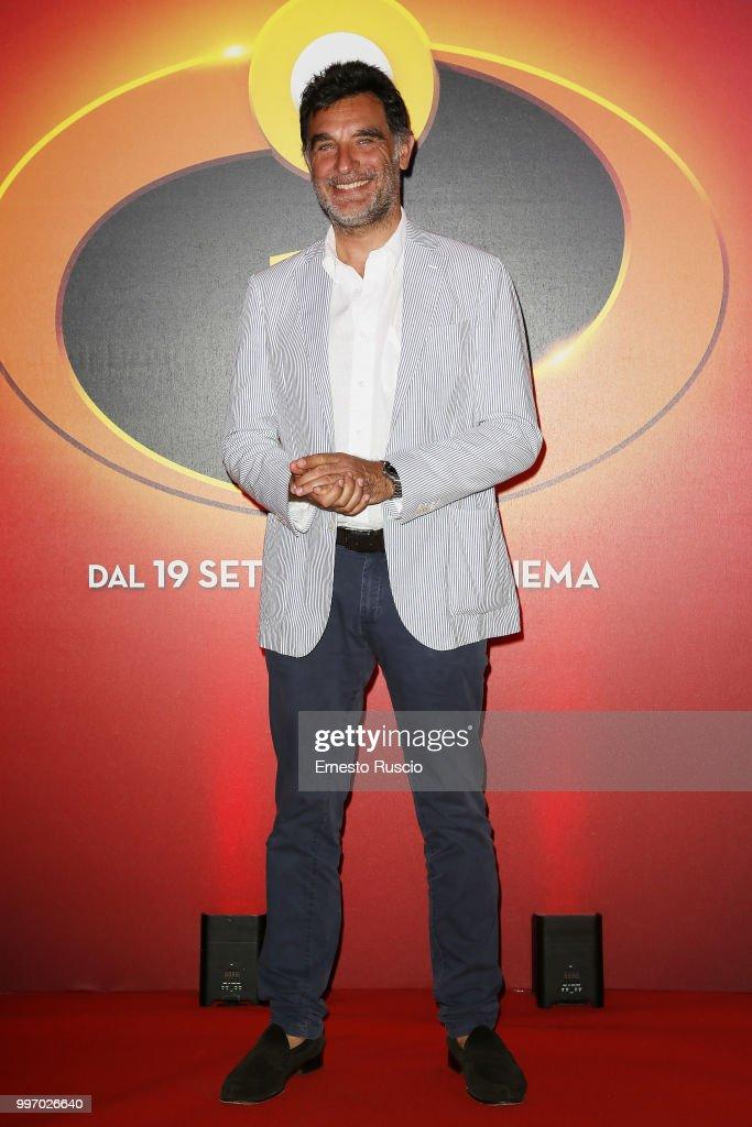 Tiberio Timperi attends the 'Gli Incredibili 2' photocall at Hotel De Russie on July 12, 2018 in Rome, Italy.