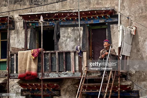 CONTENT] Tibet China Nyalam Old Man Sitting Daydreaming Old Age