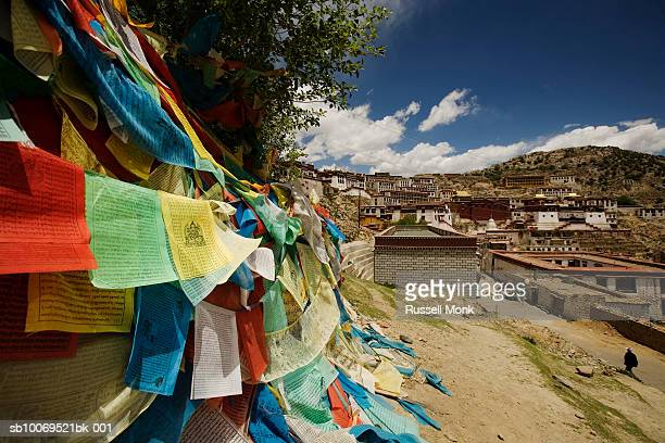 tibet, near lhasa, prayer flags with gandan monastery in background - capitales internationales photos et images de collection