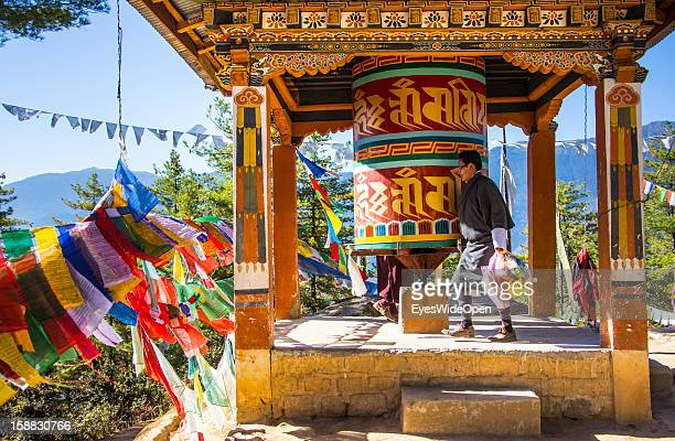 Tibet prayer flags at Paro Taktsang, also called Taktsang Palphug Monastery or Tiger `s Nest, a famous sacred site and temple complex reachable by a...
