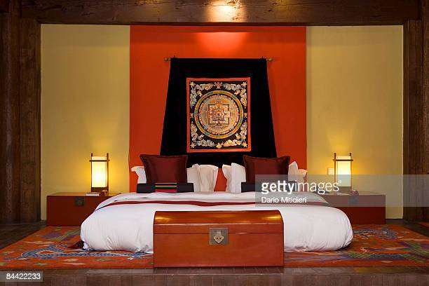 Tibetan accommodation fivestar style at the Banyan Tree resort outside Zhongdian Yunnan Province renamed Shangri La by the Chinese government in 2001...