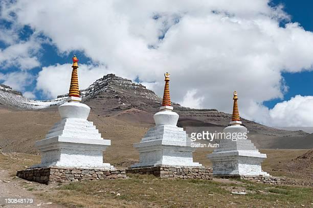 Tibetan Buddhism, Gyangdrak Gompa monastery, three white stupas, region around Mount Kailash, Ngari Prefecture, Gangdise Mountains, Trans-Himalaya mountain range, Himalayas, west Tibet, Tibet Autonomous Region, People's Republic of China, Asia