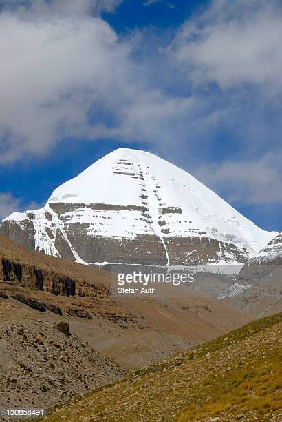 Tibetan Buddhism, sacred snow-covered mountain, peak of Kailash, south side with channel, Gang Rinpoche, Gang Tise Mountains, Trans-Himalaya, Himalayas, Tibet Autonomous Region, People's Republic of China, Asia