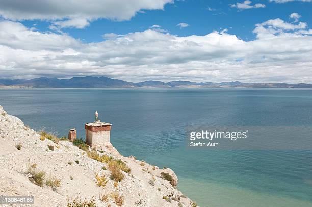 Tibetan Buddhism, Stupa or Chorten, Gossul Gompa Monastery above Lake Manasarovar, Mapham Yutsho, Kailash area, Ngari, Trans-Himalaya, Himalayas, West Tibet, Tibet Autonomous Region, People's Republic of China, Asia