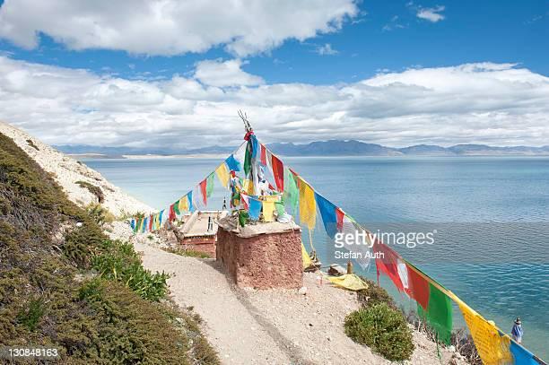 Tibetan Buddhism, Stupa or Chorten with colourful prayer flags, Gossul Gompa Monastery above Lake Manasarovar, Mapham Yutsho, Kailash area, Ngari, Trans-Himalaya, Himalayas, West Tibet, Tibet Autonomous Region, People's Republic of China, Asia