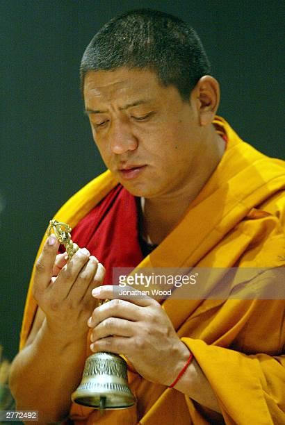 Tibetan Buddhist Monk, Tenpa Gyoltsen in Prayer during the dissolution of a sand mandala at the Queensland Museum, December 1, 2003 in Brisbane,...