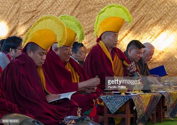 Tibetan Buddhist Monks chant the Tibetan Mantras during the 1st day of Tibetan new year Losar at Tsugla Khang Temple Hundred of Tibetan Buddhist...