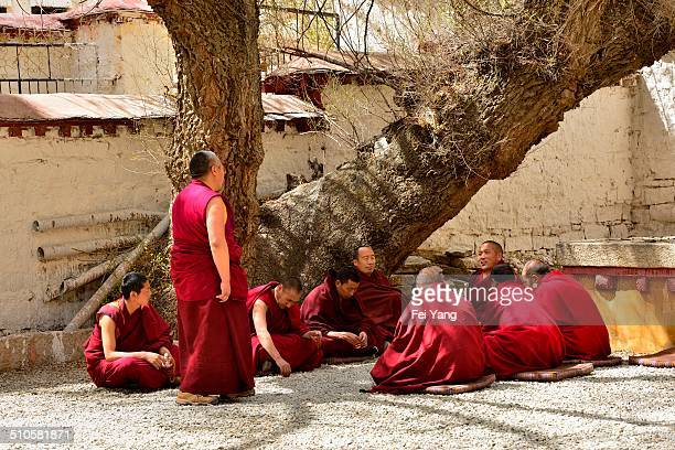 Tibetan Buddhist monks debate scripture in the courtyard of the Sera Monastery on April 8 in Lhasa, Tibet.