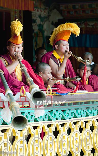 tibetan buddhist monks during festival sikkim - ceremony stock pictures, royalty-free photos & images