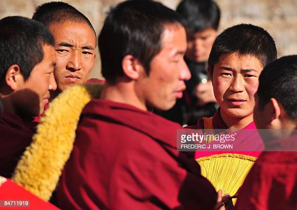 Tibetan Buddhist monks gather during ongoing celebrations for Monlam or the Great Prayer Festival at the Nyentog Monastery also known as Nianduhu on...