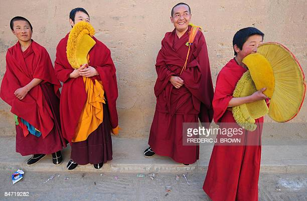 Tibetan Buddhist monks gather during ongoing celebrations for Monlam or the Great Prayer Festival at the Nyentog Monastery also known as Nianduhu in...