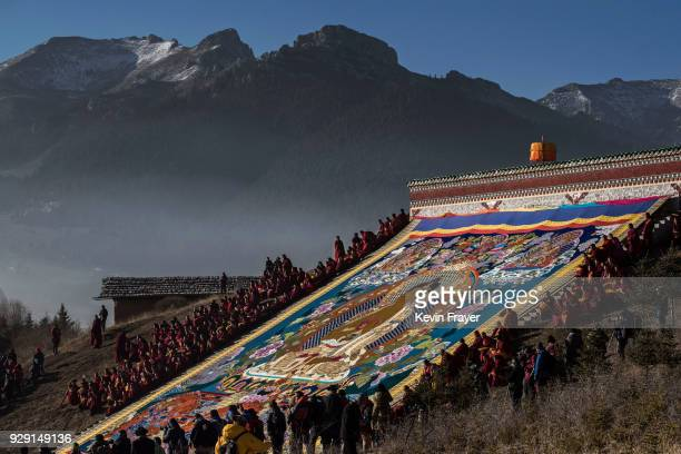 Tibetan Buddhist Monks of the Gelug or Yellow Hat school unfurl a large thangka of the Buddha during Monlam or the Great Prayer on February 28 2018...