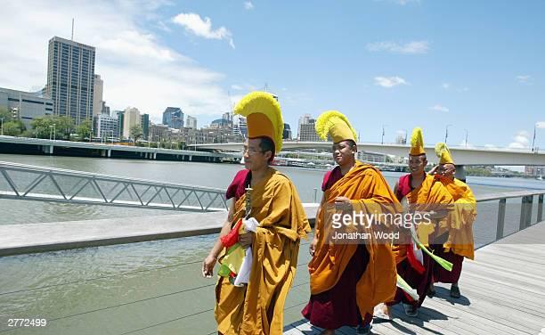 Tibetan Buddhist Monks prepare to release a sand Mandala into the Brisbane River at the Queensland Museum, December 1, 2003 in Brisbane, Australia....