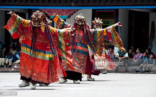 Tibetan Buddhist Monks with Masks during Festival Sikkim