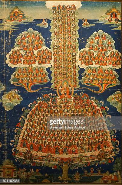 Tibetan Buddhist Thanka depicting the deities and Lamas of the Geluk Order Painted silk and cotton beginning of 20th century A thangka is a Tibetan...