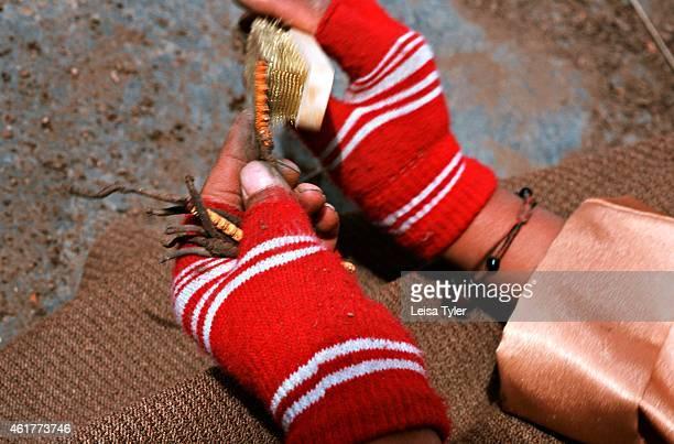 """Tibetan cleaning caterpillar fungus on the main street of Litang, western Sichuan. Literally translated from Tibetan as """"summer grass, winter worm"""",..."""