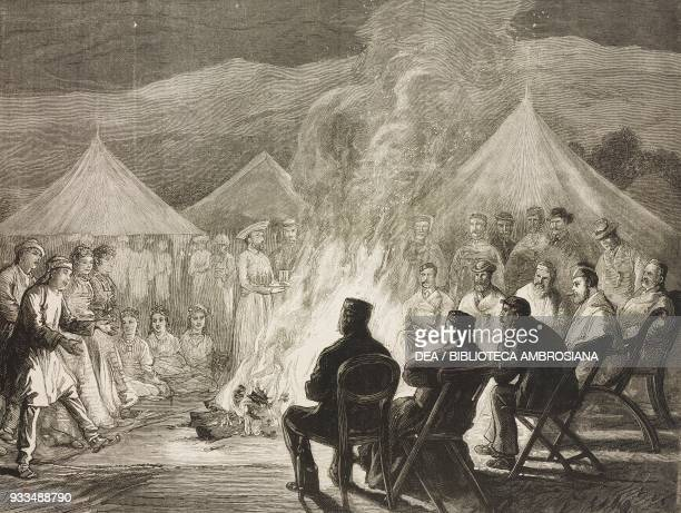 Tibetan dance around a campfire visit of Albert Edward Prince of Wales in the Terai Nepal illustration from the magazine The Graphic volume XIII no...