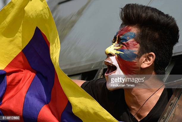 Tibetan exile students during the protest outside the Chinese Embassy on the 57th Tibetan National Uprising Day of 1959 in which thousands of Tibetan...