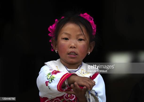 Tibetan girl in Zhongdian in China on June 17, 2007.