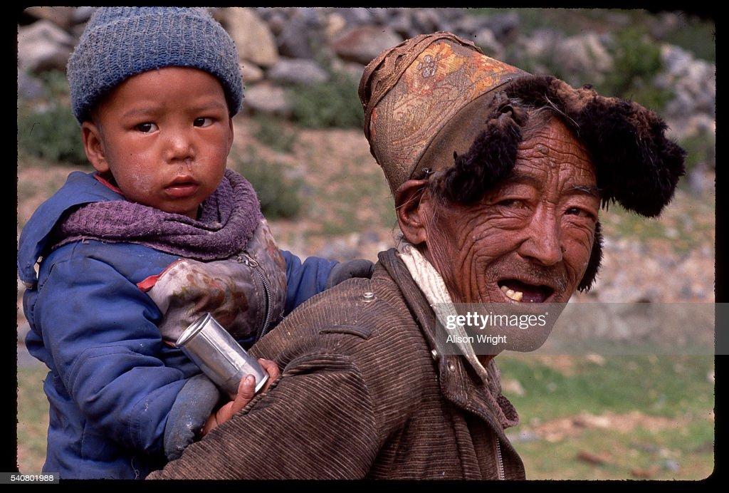 tibetan grandfather and grandchild stock photo getty images