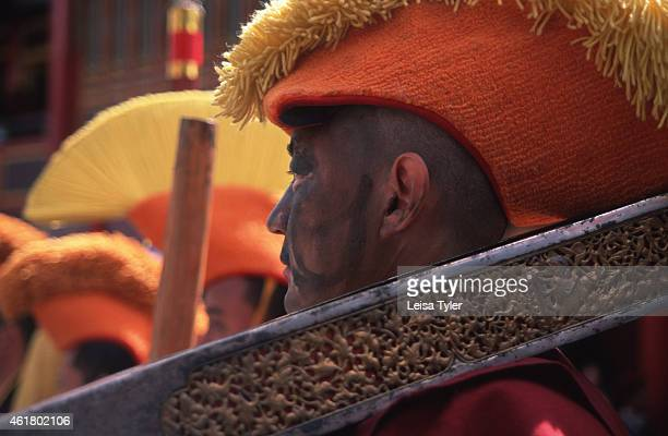 Tibetan lama from the yellow hat school performing at the opening ceremony of the Sakyamuni festival at the Kangding monastery in Dartsendo in the...
