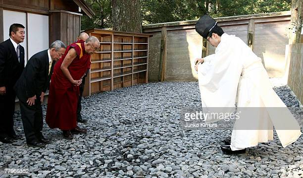 Tibetan leader Dalai Lama receives a Shinto ceremony at Ise Shrine, Japan's biggest Shrine, on November 18, 2007 in Ise, Mie Prefecture, Japan. It is...