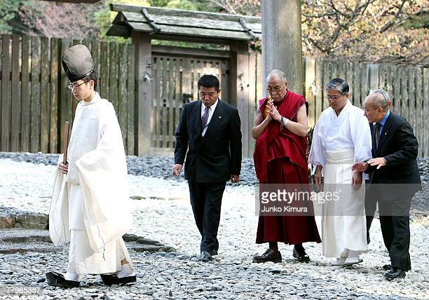 Tibetan leader Dalai Lama visits Ise Shrine Japan's biggest Shinto Shrine on November 18 2007 in Ise Mie Prefecture Japan It is his 11th visit to...