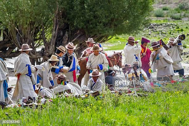 Tibetan Men in Traditional Clothing in Tibet