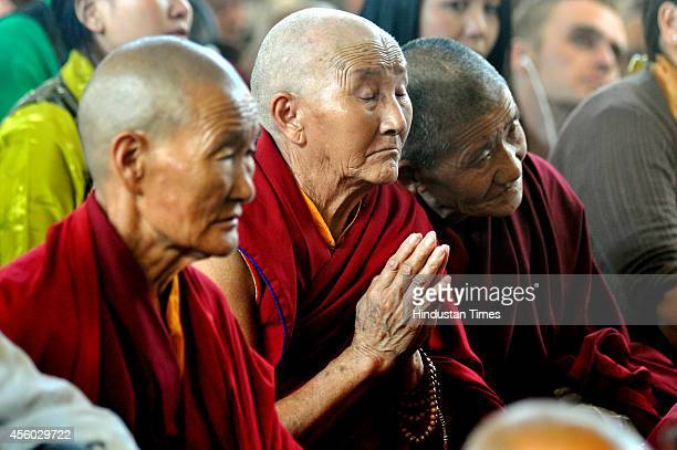 Tibetan monks during a teaching session by Tibetan spiritual leader The Dalai Lama at Tsugla Khang Temple Mcleodganj on September 24 2014 in...