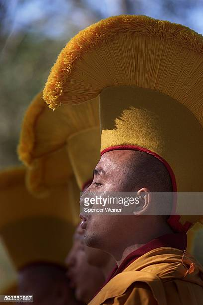 Tibetan monks, including Jigme Rapton perform in tradition costume at Oak Grove School in Ojai, Tuesday The group sang, told stories and created a...
