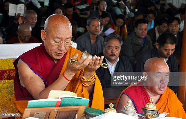 Tibetan monks offering traditional Sangsol prayer ceremony for the long life of the Dalai Lama and the world peace during the celebrations to mark...